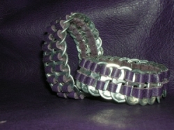 pull tab leather bracelet in plum purple